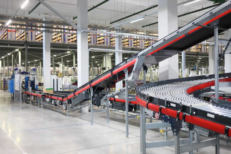 Inside a factory with conveyor belts